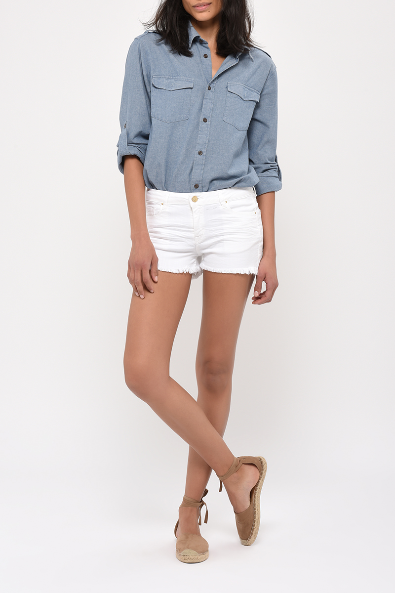 Short Sam Denim Blanc